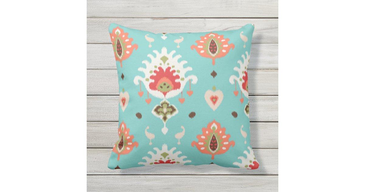 Chic modern orange turquoise ikat tribal pattern throw pillow Zazzle