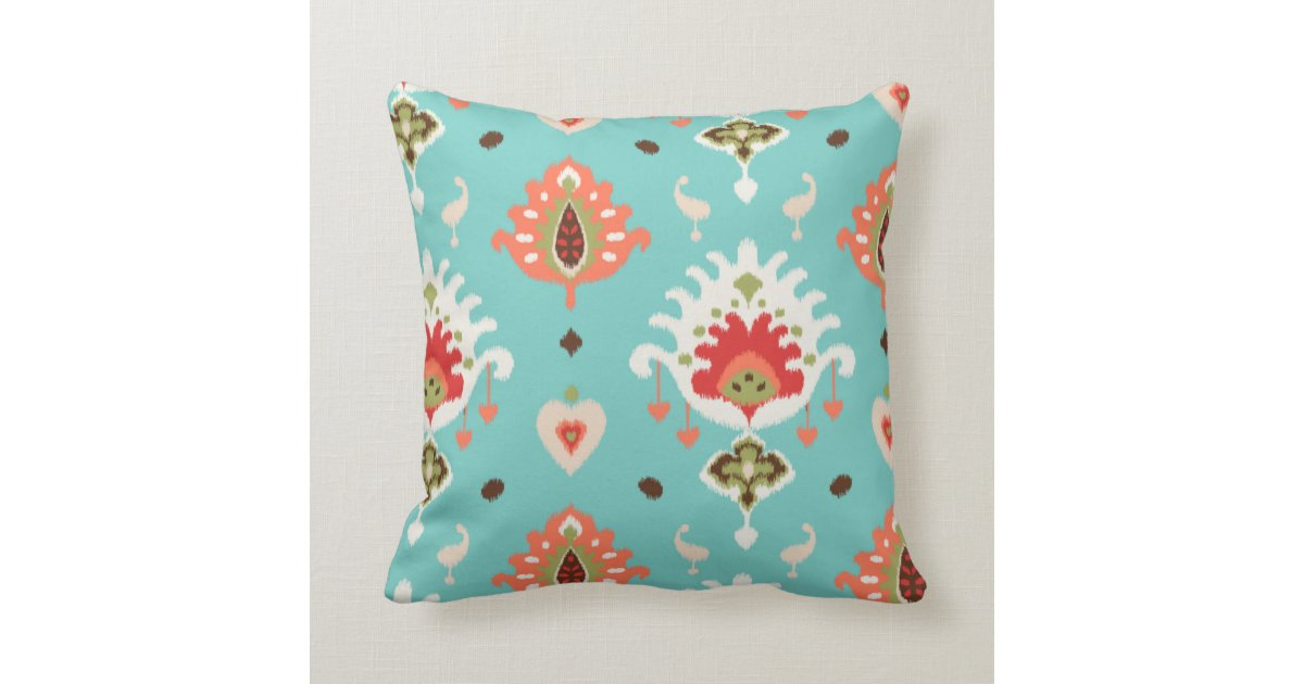 Modern Tribal Pillow Pattern : Chic modern orange turquoise ikat tribal pattern throw pillow Zazzle