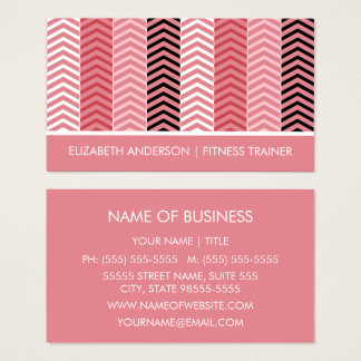 Chic Modern Pink Chevron Stripes Fitness Trainer Business Card