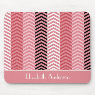 Chic Modern Pink Chevron Stripes With Name Mouse Pads