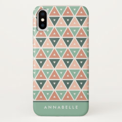 Chic Modern Pink Peach Green Triangles Pattern iPhone XS Case