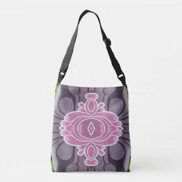 Beach Themed Chic Modern Pink White Lavender Graphic Design Crossbody Bag
