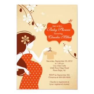 Chic Modern Pregnant Mom Baby Shower 5x7 Paper Invitation Card
