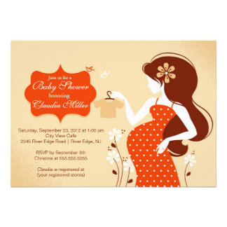 Chic Modern Pregnant Mom Baby Shower Announcements