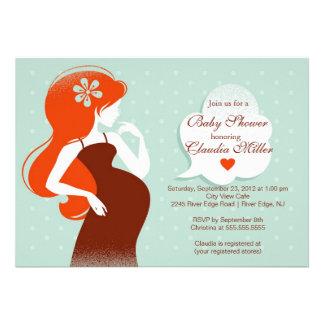 Chic Modern Pregnant Mom Baby Shower Custom Invite