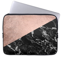 Chic modern rose gold black marble color block laptop sleeve