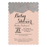 Chic Modern Rose Gold Geo Baby Shower Invitations