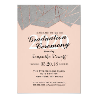 Rose gold foil graduation invitations announcements zazzle chic modern rose gold geo graduation ceremony card stopboris Choice Image