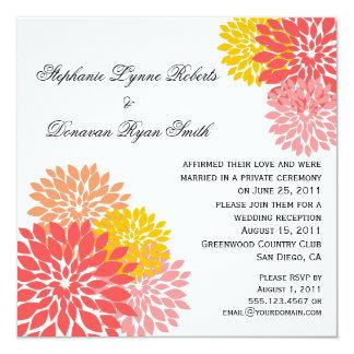 Chic Modern Salmon Peach Gold Flower Petals Card