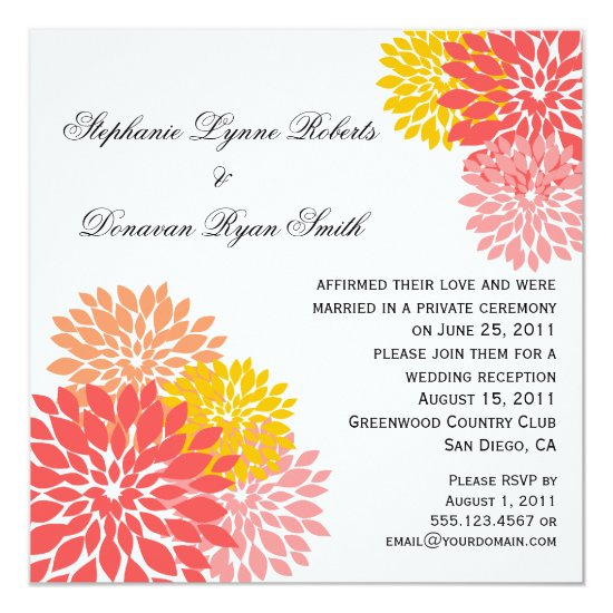 Chic Modern Salmon Peach Gold Flower Petals Invitation