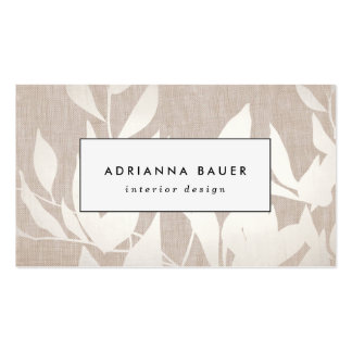 Chic Modern Silver Leaves Nature Tan Linen LOOK Business Card