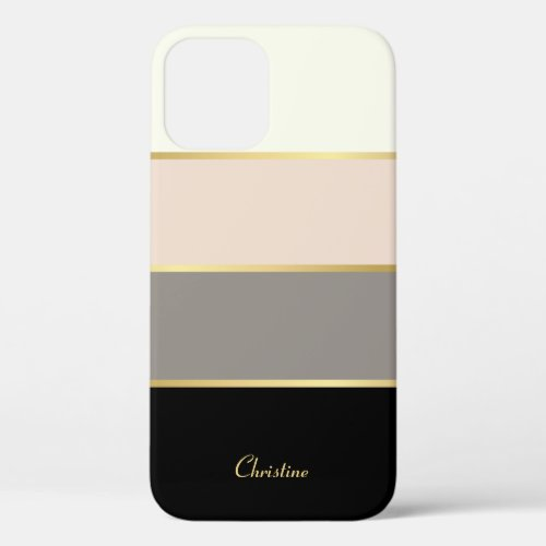 Chic Modern Stripes Pattern with Name iPhone 12 Pro Case