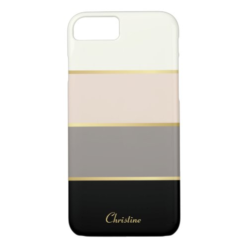 Chic Modern Stripes Pattern with Name iPhone 8/7 Case