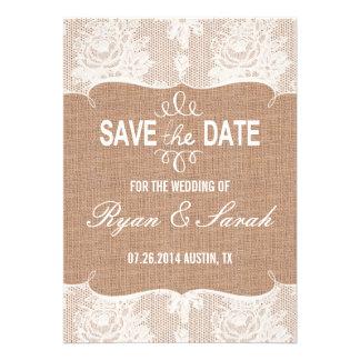 Chic Modern Swirl Burlap Print Save the Dates Invites