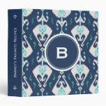 Chic modern teal navy blue ikat tribal pattern binder