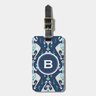 Chic modern teal navy blue ikat tribal pattern luggage tag