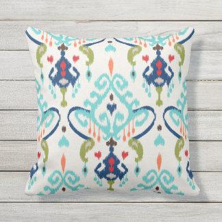 Chic modern teal navy blue ikat tribal pattern outdoor pillow