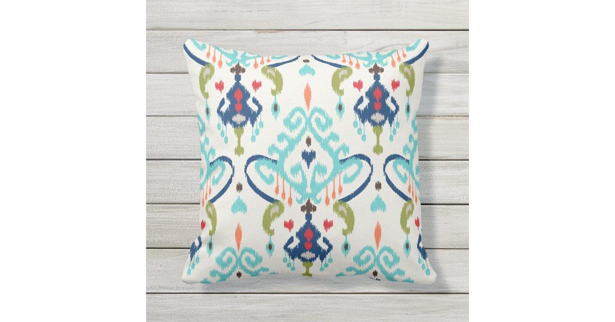 Modern Tribal Pillow Pattern : Chic modern teal navy blue ikat tribal pattern outdoor pillow Zazzle