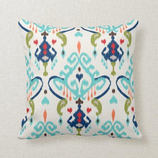 Chic modern teal navy blue ikat tribal pattern pillow Zazzle