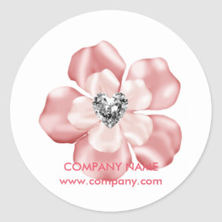 chic modern trendy girly sparkles pink floral classic round sticker