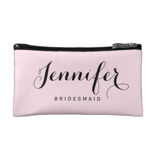Chic Modern Typography Personalized Bridesmaid Makeup Bag at Zazzle