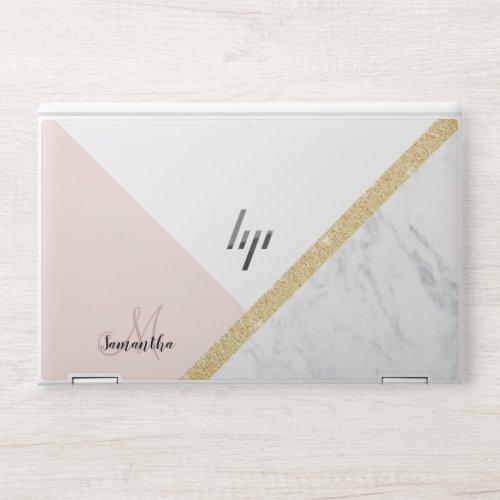 Chic modern white marble gold glitter monogram HP laptop skin