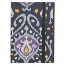 Chic modern yellow blue navy ikat tribal pattern iPad air cover