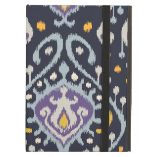 Chic Modern Yellow Blue Navy Ikat Tribal Pattern Ipad Air Cover at Zazzle