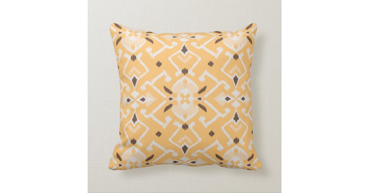 Modern Yellow Pillow : Chic modern yellow ikat tribal pattern throw pillow Zazzle