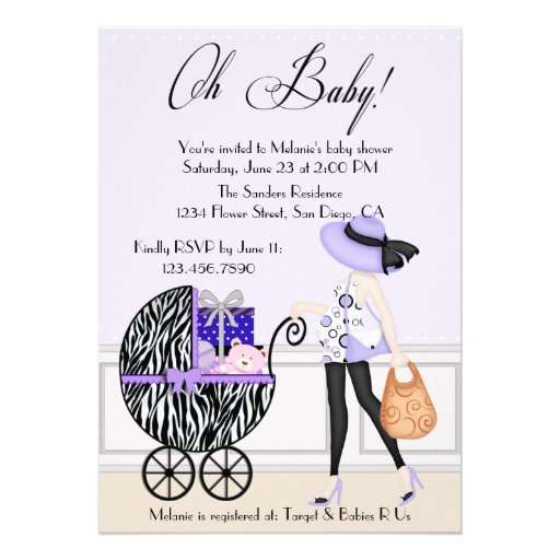 Chic Mom and Buggy with Gifts Announcement