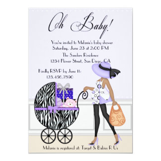 Chic Mom and Buggy with Gifts 5x7 Paper Invitation Card