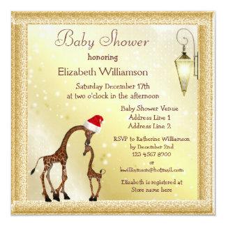 Chic Mom & Baby Giraffe Christmas Baby Shower Card