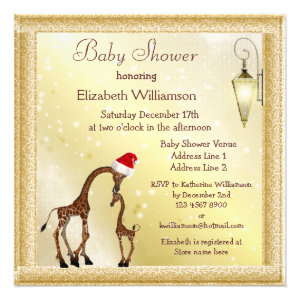 Chic Mom & Baby Giraffe Christmas Baby Shower Personalized Invitation