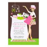 Chic Mom Crib Baby Girl Shower Invitation