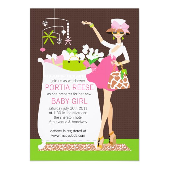 Chic Mom Crib Baby Girl Shower Invitation