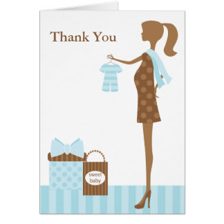 Chic Mom To Be Boy Baby Shower Thank You Card