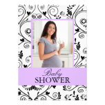 Chic Mommy Photo Purple Baby Shower Invitations