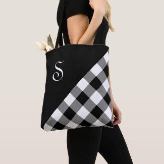 Chic Monogram Black White Buffalo Check Geometric Tote Bag