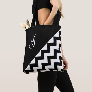 Chic Monogram Black White Geometric Zigzag Pattern Tote Bag