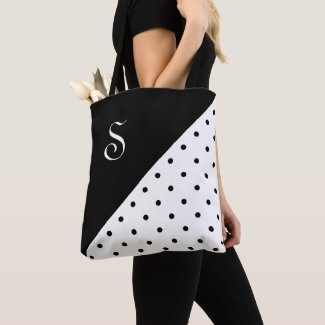 Chic Monogram Black White Polka Dot Geometric Tote Bag