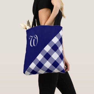 Chic Monogram Blue White Buffalo Check Geometric Tote Bag
