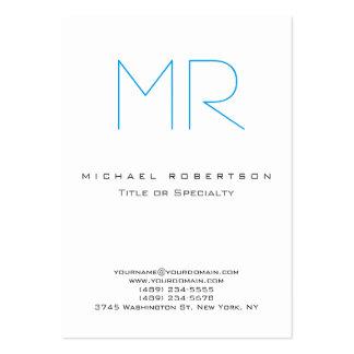 Chic Monogram Blue White Cute Business Card