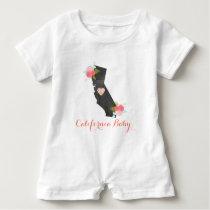 Chic Monogram California State & Heart Baby Girl Baby Romper