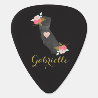 Chic Monogram California State & Moveable Heart Guitar Pick