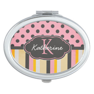 Chic Monogram Chalkboard Stripes and Polka Dots Compact Mirror