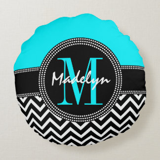 Chic Monogram Chevron - M is for Madelyn Round Pillow