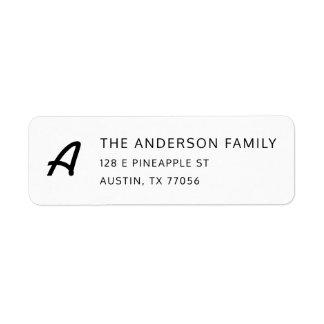 Chic Monogram + Custom Family Name Return Address Label