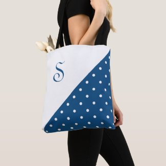 Chic Monogram Dark Blue White Polka Dot Geometric Tote Bag