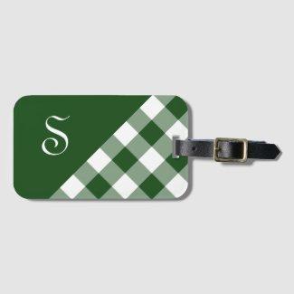 Chic Monogram Green White Buffalo Check Geometric Luggage Tag