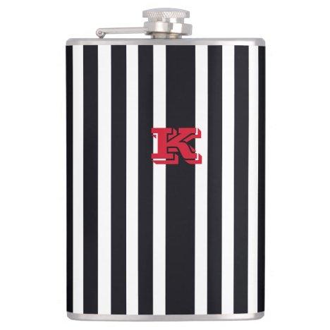 Chic Monogram Hip Flask Art Black & White Stripes